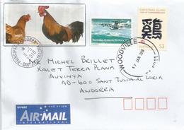 Christmas Island, Annee  Du Coq $ 3.00, Sur Lettre Adressee Andorra,avec Timbre A Date Arrivee - Nouvel An Chinois