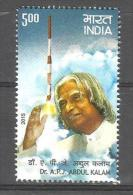 INDIA, 2015,    Former President Dr. APJ Abdul Kalam, Pioneer Space Technology,  Missiles, Rockets,  MNH, (**) - Asia
