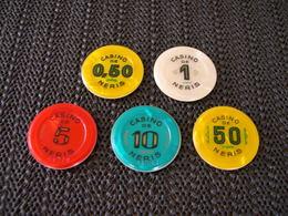 Casino Chip Set 0,5-1-5-10-50 FF De Neris France - Casino