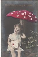 CPA  ENFANT Sous Un CHAMPIGNON    Bonne Année (Alsace) - Portraits
