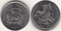 Dominican Republic 10 Centavos 1989 Km#70 - Used - Dominicana