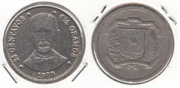 Dominican Republic 25 Centavos 1980 Km#51 - Used - Dominicana