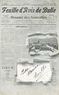 Suisse Bulle Feuille D'avis De Bulle, Circulée 1909 Pour Montreux - Autres