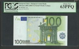 "ITALY  ""S"" 100  EURO PCGS 63 PPQ (Perfect Paper Quality) CHOICE UNC! TRICHET Signature!!  ""S""   Printer  J033A4 ! - 100 Euro"