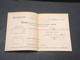 FRANCE - Bon Pour Un Paquet Postal Gratuit Pour L 'Armée Du Rhin En 1928 - L 17024 - Documents