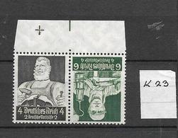 1934 MNH Germany, Berufsstände,  K23 - Se-Tenant