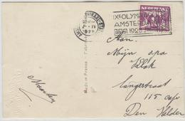 NETHERLANDS Postcard With Olympic Machine Cancel With Reversed N In STATION Only 4 Days In Use - Summer 1928: Amsterdam