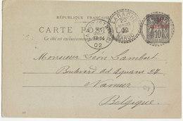 Entier 10c Sage O. Facteur Boitier Larache Maroc -> Belgique 1902 - Morocco (1891-1956)