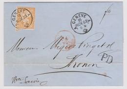 SUISSE HELVETIE ASSISE: Lettre De Genève Du 16 Nov. 1863 Pour Thonon (Hte Savoie) Avec 20c Orange, Obl. Thonon En Rouge - 1862-1881 Sitzende Helvetia (gezähnt)