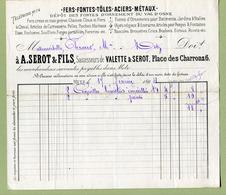 """METZ  (57) : """" DEPOT DE METAUX - A. SEROT & Fils - Place Des Charrons """"  1894  ( VAL D'OSNE ) - France"""