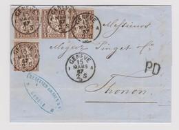 SUISSE HELVETIE ASSISE: Lettre De Genève Du 15 Mars 1867 Pour Thonon (Hte Savoie), Avec 4x 5c Brun, Obl. Thonon Au Verso - Briefe U. Dokumente