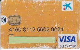 TARJETA DE BANCO DE LA CAIXA (CREDITCARD-BANK-VISA) CHIP-PUCE - Tarjetas Telefónicas