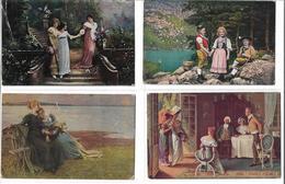1560j: Aus Anno Dazumal: 4 Frauen In Nostalgischen Kleidern- AKs, Gelaufen (2 Scans) - Personajes