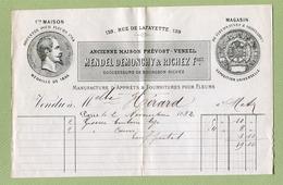 """PARIS  : """" FLEURISTERIE  MENDEL DEMONCHY & RICHEZ Fres - Rue LAFAYETTE 159 """"  1882 - France"""