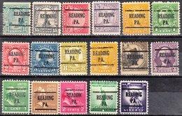 USA Precancel Vorausentwertung Preo, Locals Pennsylvania, Reading 225, 17 Diff. Perf. 4 X 11x11, 1 X 10x10, 12 X 10 1/2 - Vereinigte Staaten
