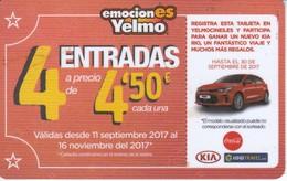 TARJETA DE PUBLICIDAD DE YELMO CINES (GIFT CARD-CADEAU) COCHE KIA Y COCA-COLA - Tarjetas Telefónicas
