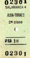 VP12.008 - Ticket Des Chemins De Fer  SALAMANCA X ALBA - TORMES - Chemins De Fer