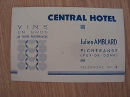 CARTE DE VISITE CENTRAL HOTEL JULIEN AMBLARD PICHERANDE - Cartes De Visite