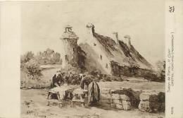 Tableaux -ref A572- Illustrateurs -illustrateur - Arts -peinture-tableau -peintre H Cuny - Penmarch -castel Fortifié- - Penmarch