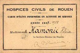 VP12.009 - Hospices Civils De ROUEN - Carte D'Elève Infirmière Mademoiselle HAMORIC Héloise - Cartes