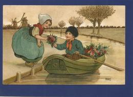 FLORENCE HARDY / Jeune Garçon En Barque Offrant Des Fleurs à Une Jeune Fille. - Hardy, Florence