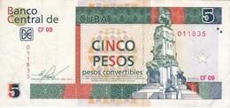 BILLETE DE CUBA DE 5 PESOS CONVERTIBLES DEL AÑO 2011  (BANKNOTE) ANTONIO MACEO - Cuba