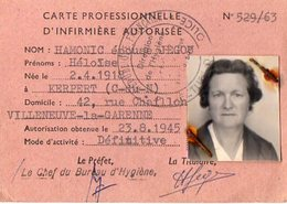 VP12.012 - PARIS X VILLENEUVE LA GARENNE - Carte D'Infirmière Mme HAMONIC Héloise - Cartes