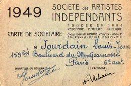 VP12.014 - PARIS - Société Des Artistes Indépendants - Carte De Sociétaire Mr JOURDAIN - Cartes