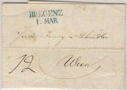 Österreich, Vorphilabrief Bregenz (L2 Blau) N. Wien 1845 - Mit Inhalt - Österreich