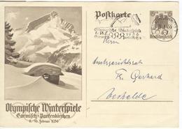 GERMANY Olympic Stationery With Olympic Single Ring Machine Cancel Braunschweig - Winter 1936: Garmisch-Partenkirchen