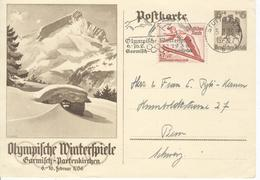 GERMANY Olympic Stationery With Olympic Single Ring Machine Cancel Stuttgart - Winter 1936: Garmisch-Partenkirchen