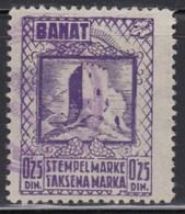 WWII - Germany - Occupation Of Yugoslavia - Banat 1944 Revenue Stamp 0.25 Dinar, Used - Gebraucht