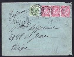 TP 56-58 (3) Sur LETTRE EXPRES C.OCTOGONAL BRUXELLES NORD - 1893-1900 Fine Barbe