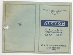 Carte De Garantie Alcyon Cycles Velos Moteurs Motos Courbevoie - France