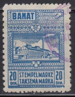 WWII - Germany - Occupation Of Yugoslavia - Banat 1944 Revenue Stamp 20 Dinara, Used - Serbia