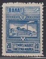 WWII - Germany - Occupation Of Yugoslavia - Banat 1944 Revenue Stamp 20 Dinara, MNH (**) - Serbia