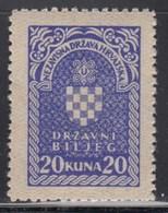 Croatia NDH Revenue Stamp 20 Kuna, MNH (**) - Croatie