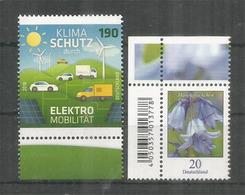Voitures Electriques, Protection Du Climat.  Deux Timbres Neufs ** Allemagne 2016 - Voitures