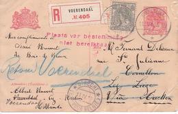 Occupation Allemande - Entier Postal Vers La Belgique En Recommandé - Plaats Van Bestemming Niet Bereikbaar - Entiers Postaux