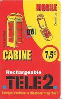 CARTE PREPAYEE-TELE 2-7,5€-CABINE Ou MOBILE-TBE-RARE - Autres Prépayées