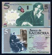Kamberra, 5 Numismas, 2017, UNC Oscar Wilde Upgraded - Billets