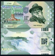 USA States, New York, $50, Polymer, Not Dated (2014), UNC, Walt Whitman - Billets