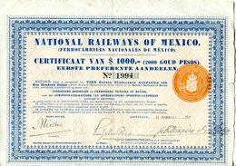 National Railways Of Mexico, Certificaat Van $ 1000 1926 - Ferrovie & Tranvie