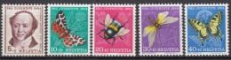 SCHWEIZ,  602-606, Postfrisch **, Pro Juventute 1954, Insekten - Pro Juventute
