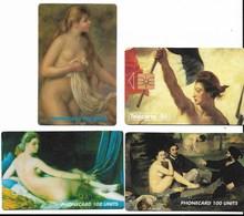 Tableaux De Renoir - Manet - Ingres - Delacroix - Nus Célèbres - 4 TC ( Dont 3 Phonecard ) - PE - Peinture