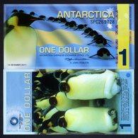 Antarctica, $1, 2011, Polymer > Commemorative, Penguins - Billets