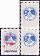 YUGOSLAVIA - JUGOSLAVIA - ERROR NO RED + BLACK Color - TBC - RED CROSS - LABELS - **MNH - 1987 - Non Dentellati, Prove E Varietà