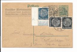DR PP 46 C 11 - 7 1/2 Pf Germania Dt. Flottenverband - Aufbrauch M. 6 Pf  ZF 1936 Ab Wiesbaden M. Bedarfstext - Ganzsachen