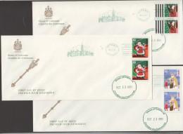 1991  Christmas Issue 3 Values Sc 1339, 13341-2  House Of Commons FDC - Omslagen Van De Eerste Dagen (FDC)