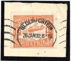 S.Africa 1932, 1/= Air Mail BLOEMFONTEIN 26 JAN 32 C.d.s. (first Flight)on Fragment - Zuid-Afrika (...-1961)